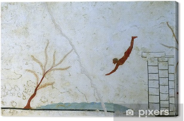 Ancient Greek Fresco in Paestum, Italy Canvas Print - Other