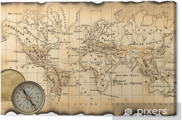 Ancient map of the world  Compass Canvas Print