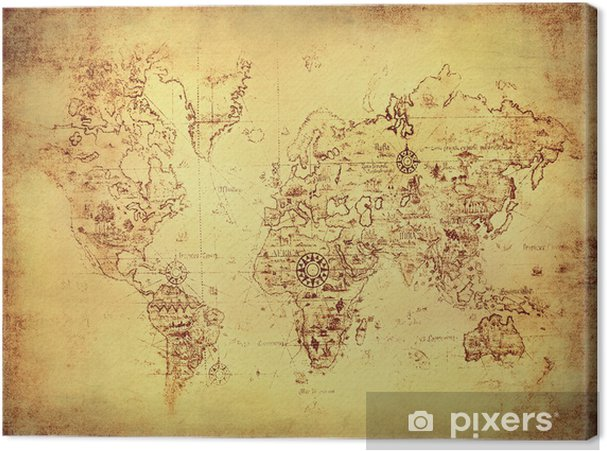 ancient map of the world. Canvas Print • Pixers® • We live to change