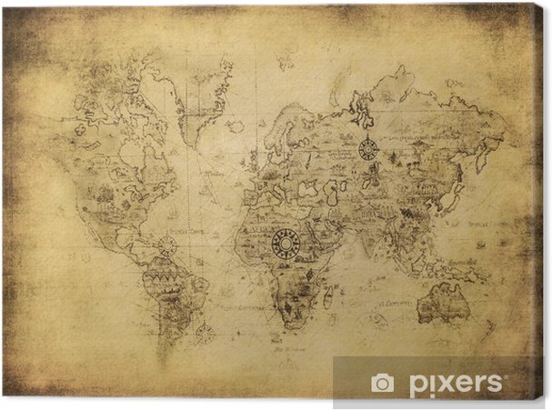 ancient map of the world. Canvas Print