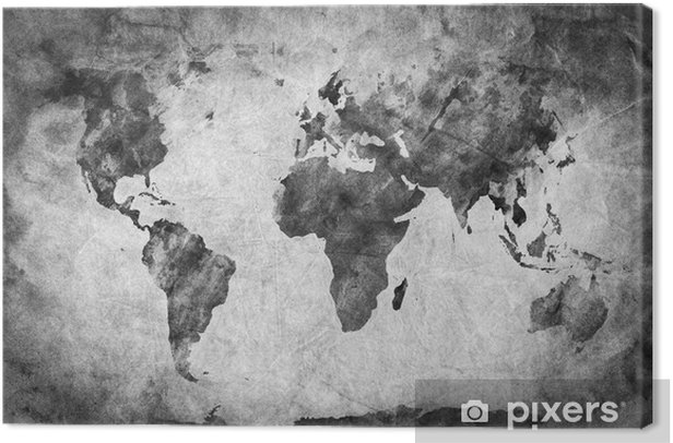 Ancient, old world map. A sketch, grunge vintage background Canvas Print - Themes