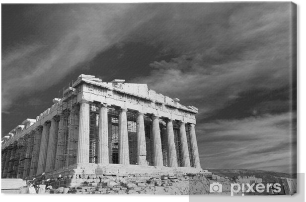 Ancient Parthenon in Acropolis Athens Greece Black and white Canvas Print - Themes