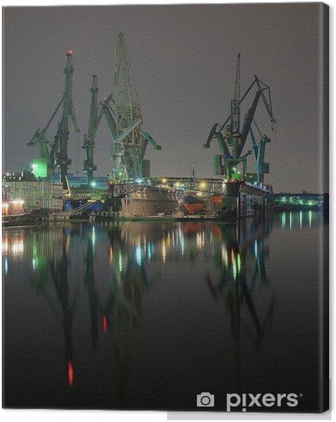 And cranes of Gdansk shipyard, Poland. Canvas Print - Themes