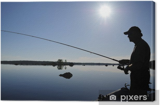 Angler shadow in morning sun Canvas Print - Themes
