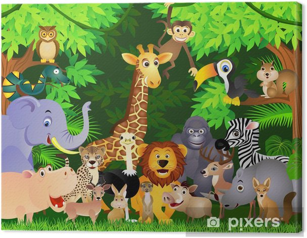 animal cartoon Canvas Print - Student