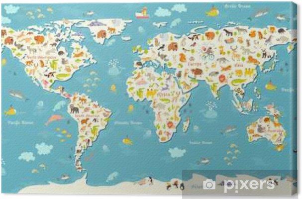 Preschool World Map.Animals World Map Beautiful Cheerful Colorful Vector Illustration