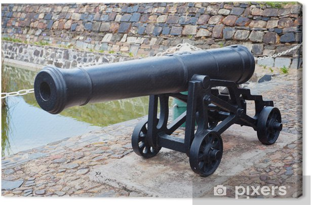antique cast iron cannon at castle of good hope, cape town Canvas Print - Africa