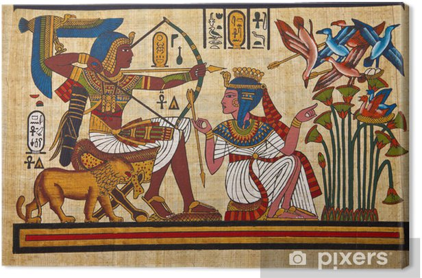 Antique egyptian papyrus and hieroglyph Canvas Print - iStaging