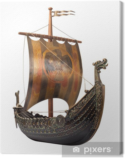 Antique Viking Ship isolated on white Canvas Print - Boats