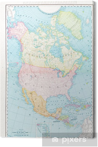 Color Map Of North America.Antique Vintage Color Map Of North America Canada Mexico Usa