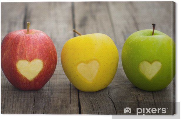 Apples with engraved hearts Canvas Print - iStaging