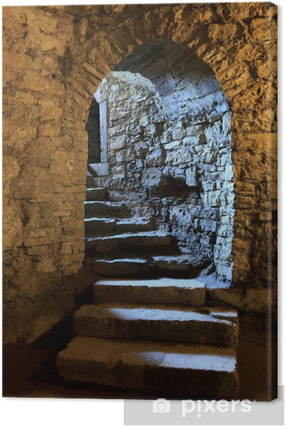 Arch in underground castle Canvas Print - Themes