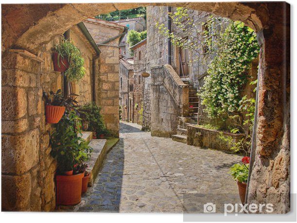 Arched cobblestone street in a Tuscan village, Italy Canvas Print - Themes
