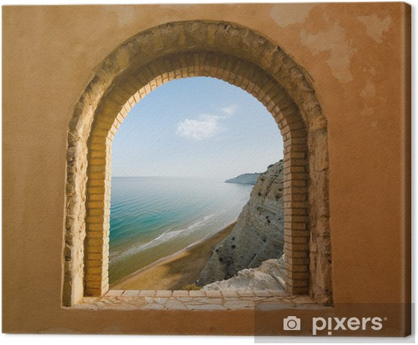arched window on the coastal landscape of a bay Canvas Print - Themes