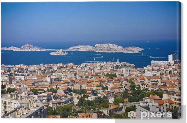areal view on Marseille from mountian, France Canvas Print - Holidays