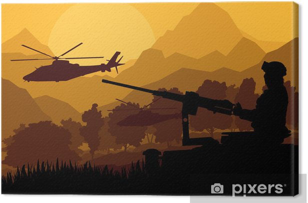 Army soldier with helicopters, guns and transportation in wild d Canvas Print - Themes