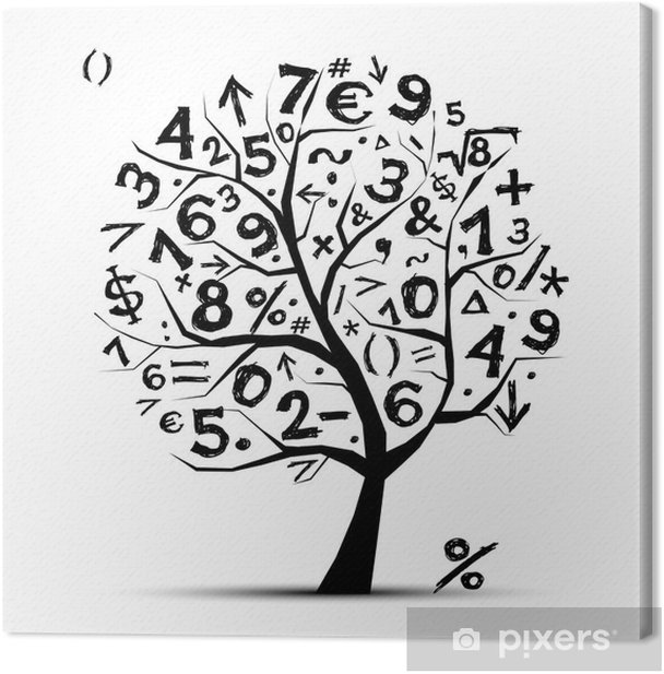 Art tree with math symbols for your design Canvas Print - Wall decals