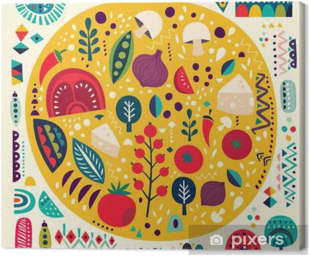 Art vector colorful illustration with pizza and other elements Canvas Print - Food