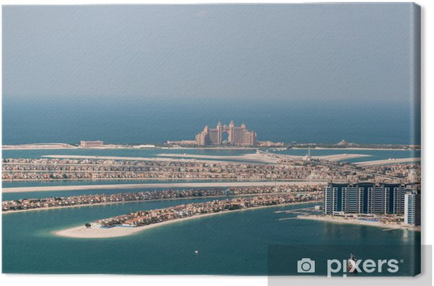 artificial island Palm Jumeirah and Atlantis hotel, Dubai, UAE Canvas Print - Themes