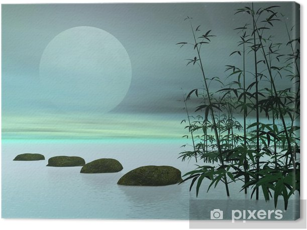 Asian steps to the moon - 3D render Canvas Print - Styles