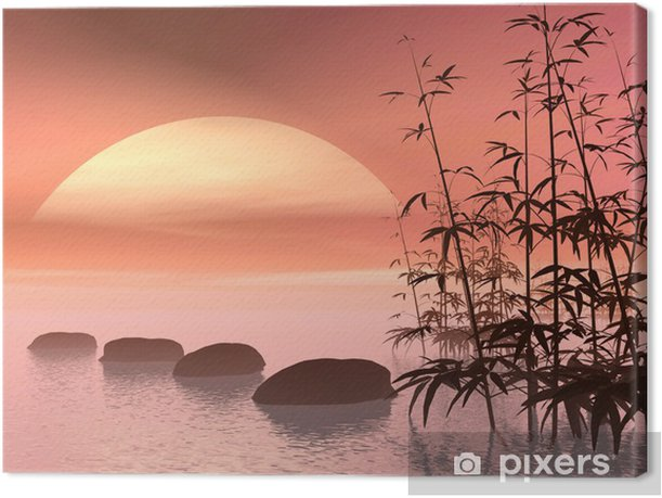 Asian steps to the sun - 3D render Canvas Print - Styles