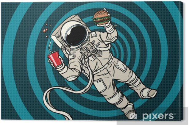 Astronaut in zero gravity with fast food Canvas Print - Food