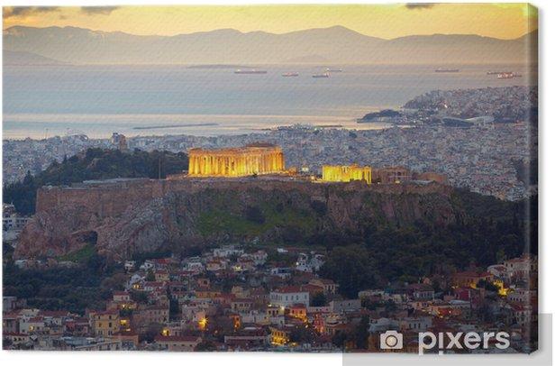 Athens, Greece. After sunset. Parthenon and Herodium constructi Canvas Print - Themes