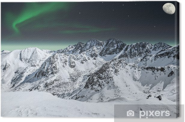Aurora and moon in mountains Canvas Print - Destinations