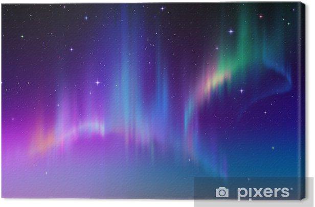 Aurora Borealis in starry polar sky, illustration Canvas Print -