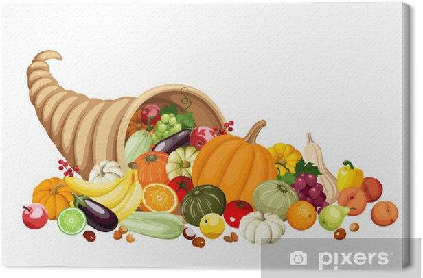 autumn cornucopia horn of plenty with fruits and vegetables