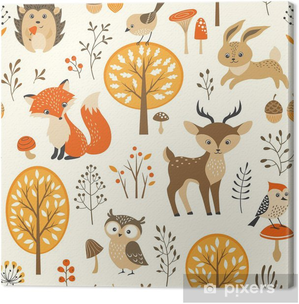 Autumn forest seamless pattern with cute animals Canvas Print - Kids room