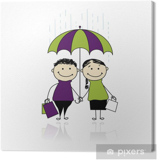 Autumn sale! Family with shopping bags for your design Canvas Print - Fashion