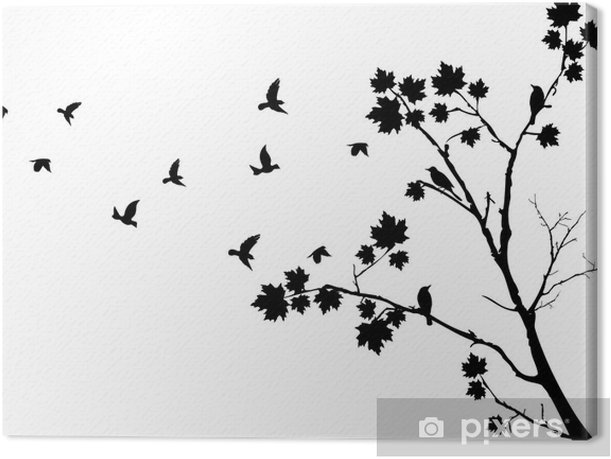 autumn tree silhouette with birds flying Canvas Print - Wall decals