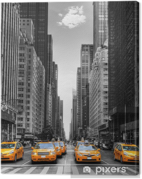 Avenue avec des taxis à New York. Canvas Print -
