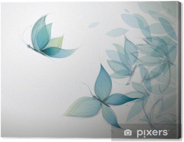 Azure Flowers like Butterflies / Surreal sketch Canvas Print - Styles