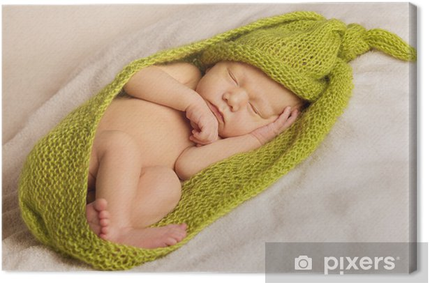 baby newborn portrait, kid sleeping in green woolen blanket Canvas Print - Children