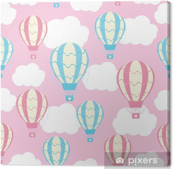 Baby shower seamless pattern with cute hot air balloons on pink sky suitable for baby shower wallpaper, scrap paper and fabric pattern Canvas Print