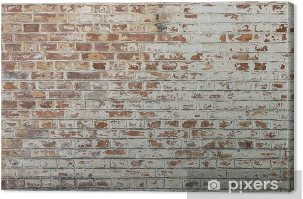 Background of old vintage dirty brick wall with peeling plaster Canvas Print - Themes