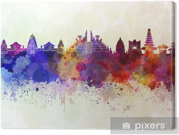 Bali skyline in watercolor background Canvas Print - Landscapes