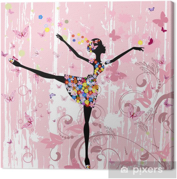 ballerina girl with flowers with butterflies grunge Canvas Print - Destinations
