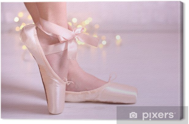 Ballerina in pointe shoes in dance hall Canvas Print - iStaging