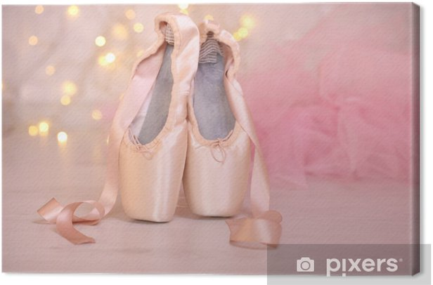 Ballet pointe shoes on floor on bokeh background Canvas Print - Ballet