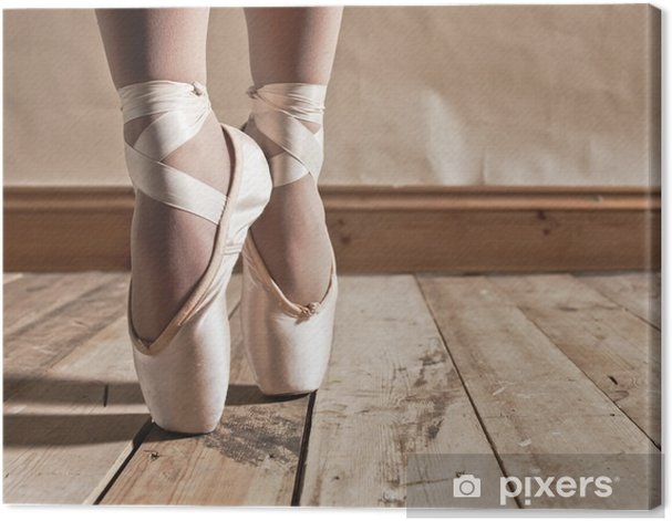Ballet Shoes on Wooden Floor Canvas Print - Ballet