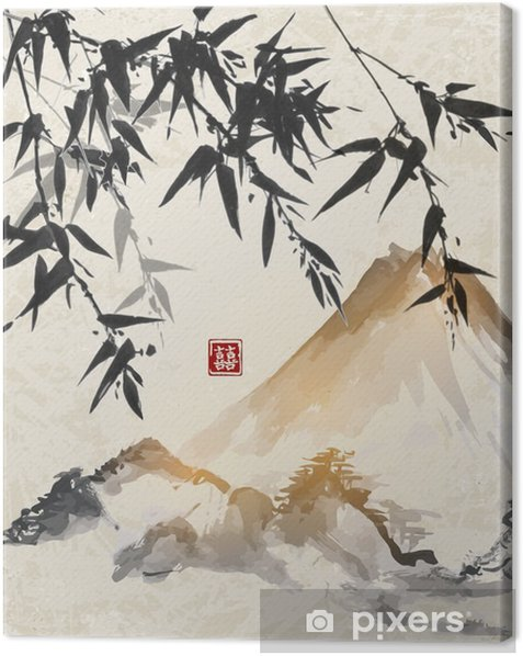 Bamboo and mountains. Traditional Japanese ink painting sumi-e. Contains hieroglyph - double luck. Canvas Print - Landscapes