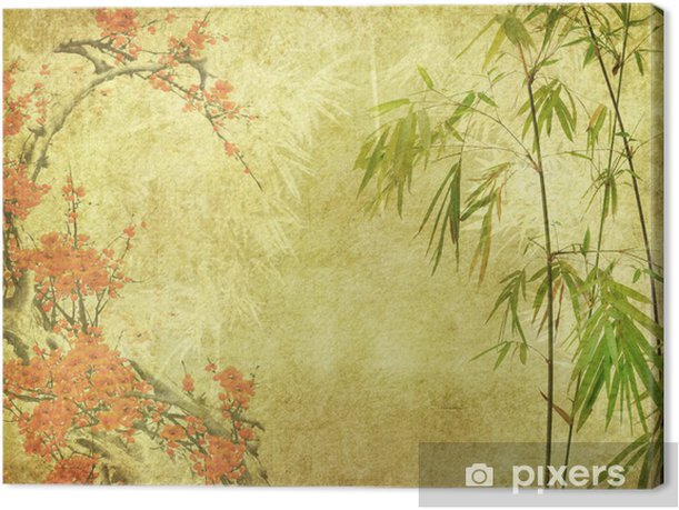 bamboo and plum blossom on old antique paper texture . Canvas Print - Styles