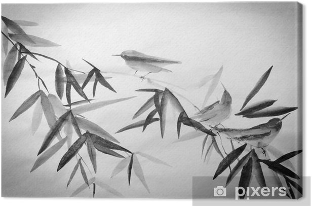 bamboo and three birdies branch Canvas Print - Hobbies and Leisure