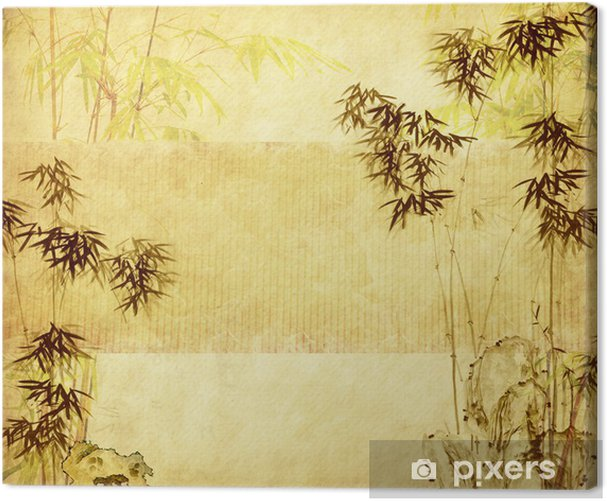 bamboo on old grunge paper texture background Canvas Print - Themes