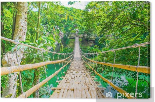 Bamboo pedestrian suspension bridge over river Canvas Print - Themes