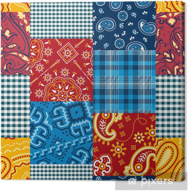 Bandanna patchwork seamless pattern Canvas Print - Fashion