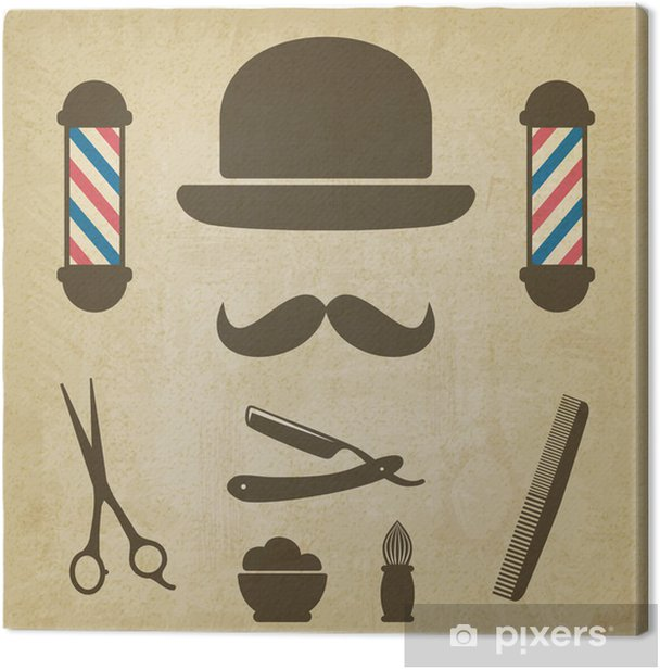 barber old background Canvas Print - Moustache